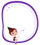 Halloween blank banner with cute Witch Girl Royalty Free Stock Photo