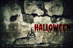 Halloween bloody on dirty brick wall with vintage and vignette t Stock Image