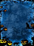Halloween blue background with pumpkins, cats and bats Stock Photo