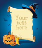 Halloween blue banner with empty paper scroll Royalty Free Stock Photo
