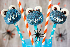 Halloween blue monster cake pops Royalty Free Stock Photography