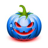 Halloween blue pumpkin face. In a glossy style vector illustration