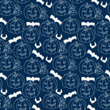 Halloween blue seamless pattern with pumpkins Stock Image