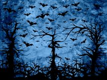 Halloween blue trees background. With bats and clocks stock illustration