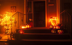 Halloween Blur. Ghosted halloween decorations infront of a house Royalty Free Stock Image