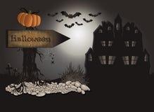 Halloween Board tree stone Stock Photos