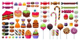 Halloween-Bonbonfestlichkeiten eingestellt Süßigkeiten und Snäcke Lizenzfreies Stockbild