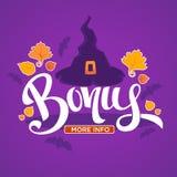 Halloween Bonus, Congratulation Bright And Glossy Banner With Ha Stock Image