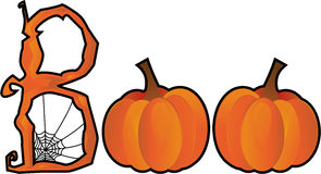 Halloween Boo text. Created from a spiderweb B and two pumpkin Os Stock Photos