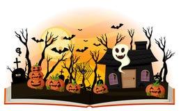 Halloween book with jack-o-lantern and haunted house. Illustration stock illustration