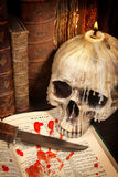 Halloween book and skull 3. Shakespeare's Macbeth with old books and a dagger Royalty Free Stock Photo