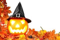 Halloween border. With autumn leaves and Jack o Lantern Stock Photos