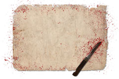 Halloween border with blood and knife Royalty Free Stock Photos