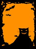 Halloween border with cat. Halloween border with fat spooky cat, orange background Royalty Free Stock Photos