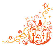 Halloween border. Colorful halloween border with pumpkin and stars Royalty Free Stock Image