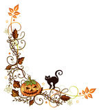 Halloween border. Colorful halloween vine leaves with pumpkin and black cat Stock Photography