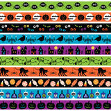 Halloween border patterns. Halloween motif striped border patterns Stock Photo