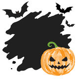 Halloween border with pumpkin paint brush Royalty Free Stock Photos
