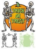 Halloween border with skeletons. Border or frame with skeletons and a pumpkin. Trick or treat Stock Image