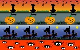 Halloween borders. Set of horizontal Halloween borders with black cats, bats, pumpkins, sepulchral crosses and spiders Stock Images