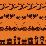 Halloween borders set on orange background. Royalty Free Stock Photo