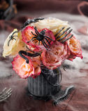 Halloween bouquet. Rose bouquet of red and white roses for Halloween, selective focus Royalty Free Stock Images