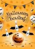 Halloween bowling flyer template. A6 format size. Vector clip art illustration. stock illustration