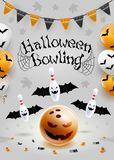 Halloween bowling flyer template. A6 format size. Vector clip art illustration. royalty free illustration