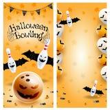 Halloween bowling long flyer template euroflier. Vector clip art illustration. stock illustration