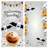 Halloween bowling long flyer template euroflier. Vector clip art illustration. royalty free illustration