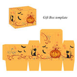 Halloween box template with pumpkin, black cat and bats Royalty Free Stock Image