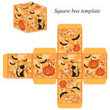Halloween box template with pumpkin, black cat and bats Royalty Free Stock Photo