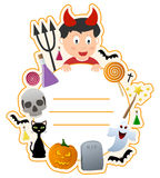 Halloween Boy Book Cover Frame. A Halloween boy book cover frame with funny elements and space for your text. Eps file available Royalty Free Stock Photography