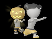 Halloween boy and girl. 3D illustration. Royalty Free Stock Images