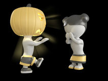 Halloween boy and girl. 3D illustration. Stock Photos