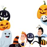 Halloween boy and girl with costumes balloon pumpkin and ghost. Vector illustration royalty free illustration