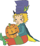 Halloween boy. Boy seating with pumpkin Jack and not scared Royalty Free Stock Images