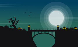 Halloween with bridge and moon landscape Royalty Free Stock Photography