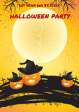 Halloween bright color poster with full moon background Stock Photos