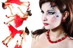 Halloween broken doll beautiful girl Stock Photography