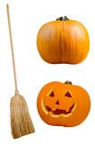 Halloween Broom and Pumpkin Cutouts on White Stock Photography