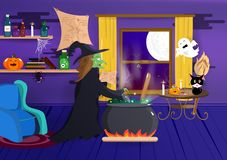 Halloween, bruja está cocinando en su casa, historieta del traje, araña de la calabaza, palo y creativo fantasmagórico, interior, libre illustration