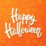 Halloween brush lettering. White 3d letters on orange background with pumpkins, cauldrons, bats, ghosts, spiders Stock Images