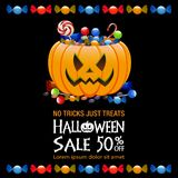 Halloween sale background. Halloween bucket  and sale text on black background Stock Images