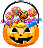 Halloween bucket sweets candy lollipop isolated Stock Photo