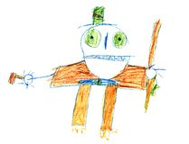 Halloween bugaboo original kid's drawing Stock Photo