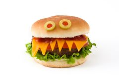 Halloween burger monsters  Royalty Free Stock Photos