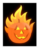 Halloween burning pumpkin illustration. Design Stock Photography