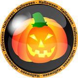 Halloween button with a pumpkin Stock Images