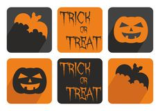 Halloween vector button set with bat and pumpkin. Orange and black sign illustration isolated on white background Stock Photography